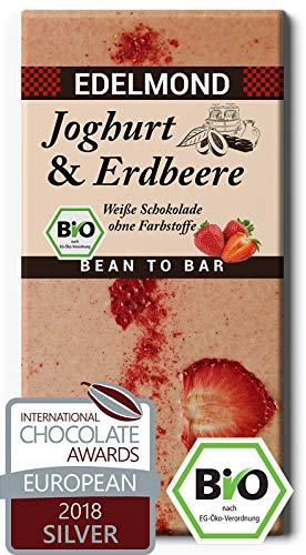 Edelmond Bio weiße Erdbeer Schokolade - mit Joghurt und getrockneten Früchten in bester Rohkost-Qualität. Ohne Farbstoffe, ohne Soja Emulgatoren ✓ (1 Tafel) -