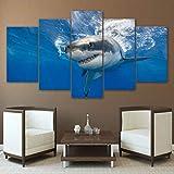 TYOP Quadro su Tela 5 Pezzi, Arte della Parete, Animali Immagini astratte di squalo Oggettistica per la casa