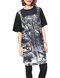 ELLAZHU Femme Été Mi-Longue Col Ras-Du-Cou Impression T-Shirt Robe GY1195 A