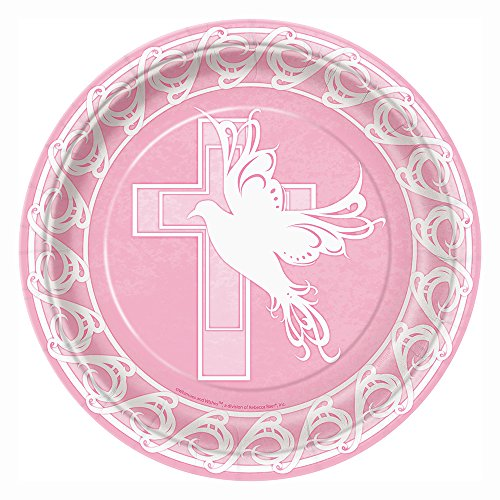 partido-enico-23-cm-dove-cross-platos-de-papel-bautizo-paquete-de-8-rosa