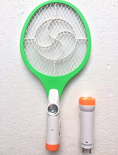 Rareeram 2 In 1 Rechargeable Mosquito/Insect Racket Bat With Detachable LED Torch - White