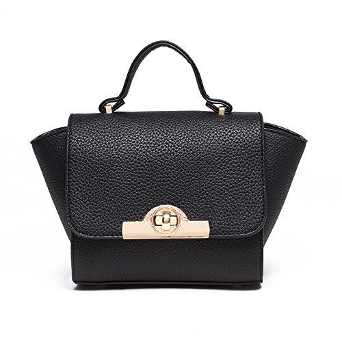 Mefly Die neuen Litchistria Tasche Handtasche Schulter Umhängetasche Klein black
