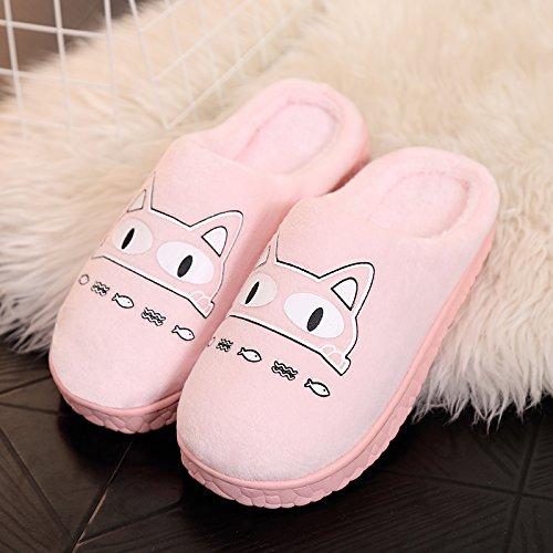 DogHaccd pantofole,Autunno Inverno paio di pantofole di cotone femmina calda interna antiscivolo pacchetto carino con un soggiorno di lana spesse pantofole maschio Rosa4