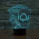 Poker und Würfel 3D Illusion Lampe führte Nacht Licht mit 7 Farben blinken & Touch-schalter USB-Stromversorgung Schlafzimmer Licht Schreibtischlampe Lampen für Kinder Geburtstag Geschenke Haus Dekoration