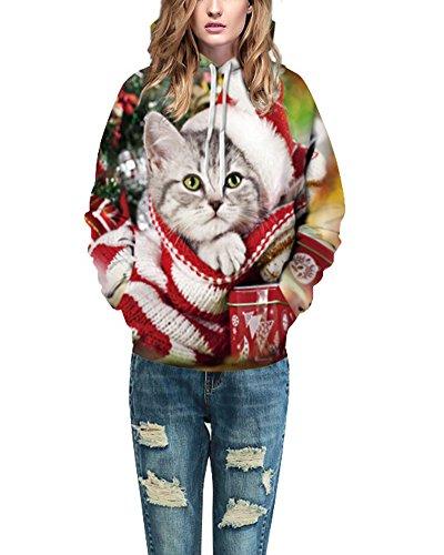 Felpa con Cappuccio Unisex Casual a Maniche Lunghe Uomo Donna Coppia Sweatshirt Come Immagine A