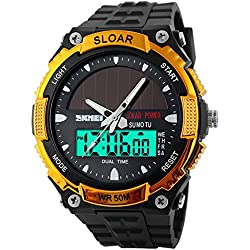 Amstt Men Solar Watch for Boys Military Watches 5ATM Waterproof Analogue Digital Outdoor Sport WatchWatches Stopwatch Gold