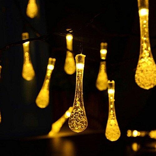 LED Solar Lichtkrette 6.5M 30 LEDs Solar String Lichter Solarbetrieben Lichterkette Außenlichterkette Wasserdicht Dekoration für Weihnachtenbeleuchtung, Garten, Party, Hochzeit 8 Modi (Warmes Weiß)