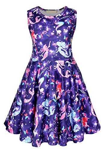 AmzBarley Meerjungfrau Kostüm Kinder Mädchen Kleid Cartton Party Outfit Kinder Kurzarm Geburtstag Dress up Sommer Sommerkleid Casual Playwear Kleid Geburtstag