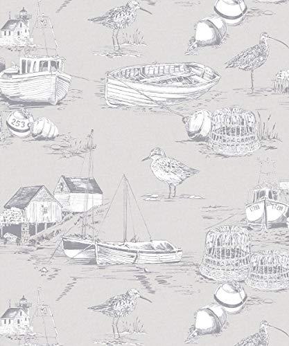 Arthouse 905004 Curlew Bay Tapete 905004, maritimes Küstenangeln, Boote, Vogel, Grau -