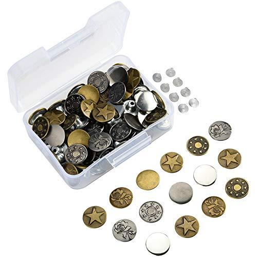 Irich Metall Jeansknöpfe mit Nieten-Verschluss, 80 Stücke Ersatz Knopf mit Aufbewahrungsbox für Bekleidungs Reparatur, Jacken, Riemen und Nähen Jobs (17 mm Durchmesser)