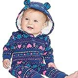 Overdose Infant Baby Jungen Mädchen Winter Dicker Print Kapuze Strampler Fleece Overall Jumpsuit Mantel Outfit Kind Kleidung, Blau, 3-6 Monate