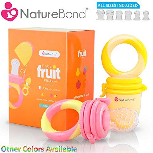 NatureBond, ciuccio per frutta per neonati, giocattolo per dentizione neonato, massaggiagengive in silicone alimentare con retine per il cibo, in colori che stimolano l'appetito, tutte le dimensioni di retine in silicone incluse, due pezzi