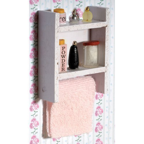 The Dolls House Emporium Bianco Scaffale con Accessori bagno