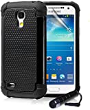 ihomegadget Shock Proof case cover for Samsung Galaxy S4 Mini i9190 + FREE screen protector and cleaning cloth - Black