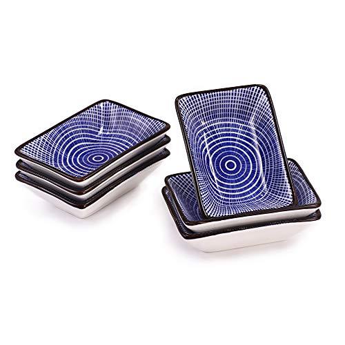Urban Lifestyle 6 x Rechteckige Dipschale/Saucenschälchen aus Porzellan 9,5 x 6,5cm mit blau/weißem japanischen Tokusa Streifen-Muster