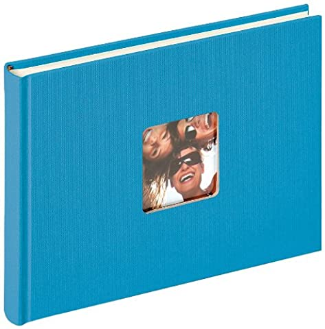 walther design FA-207-U Fun Trend high quality book bound album with die cut for your personal picture, 8.7 x 6.3 inch (22 x 16 cm), 40 white pages, ocean blue