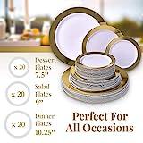 Moderna elegante economica Heavy piatti di plastica usa e getta da tavola Set | Ritz Collection by Silver Spoons | 60pezzi | Piatto da insalata, 20piatti piani da 20x e 20x piatto da dessert | oro