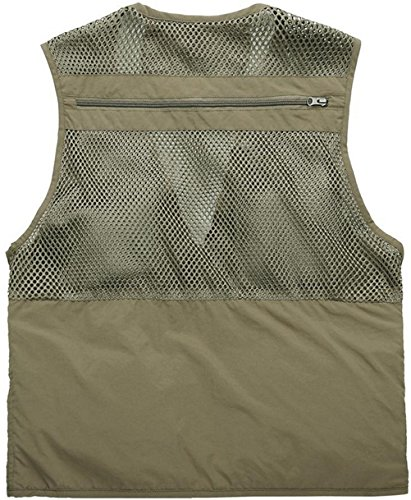 WS668 Herren Atmungsaktiv Mesh Gilets Multi-Pocket Klassisch Mens Coat Ärmellose Jacke Sleeveless Shirt Mantel Vest Khaki