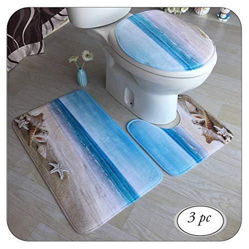 TOPARTOO Badematten Set, Bathroom Mat, Rechteck Badvorleger, Badteppich, Badgarnitur Matte, WC-Deckelbezug, Toilettendeckel Set 3tlg Bathroom Rug Mat Weich Duschmatte mit 3D Muster