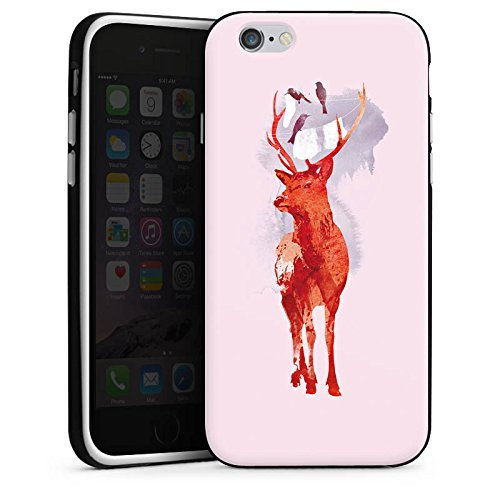 Apple iPhone 4 Housse Étui Silicone Coque Protection Cerf Art Rouge Housse en silicone noir / blanc