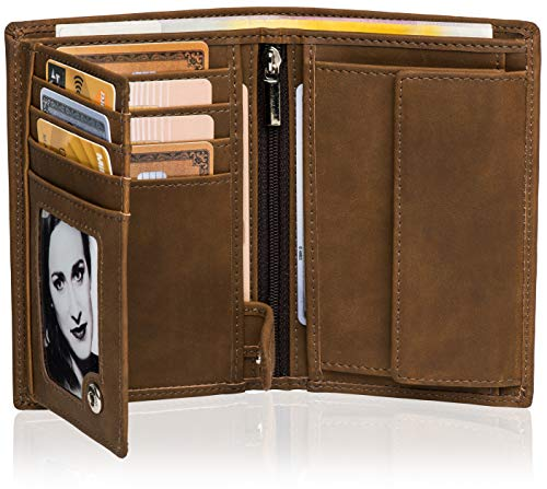 el Hochformat - TÜV geprüfter RFID Schutz - Großes Münzfach Herren - Geldbörse groß in 2 Farben mit Edler Geschenkbox - Moose (Braun) ()