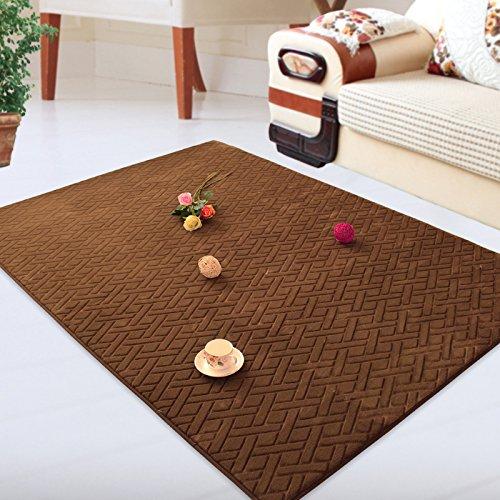 BLZZR*El Salón alfombra café mesa Sofakissen la recepción de un dormitorio con grandes alfombras modernas alfombras minimalista de espesor, 200x300cm, marrón kariert