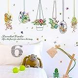 Runinstickers Adesivi Murali Cestello Butterfly Wall Stickers Fiori Home Decor Soggiorno Arte DIY Adesivi Rimovibili di Sfondo