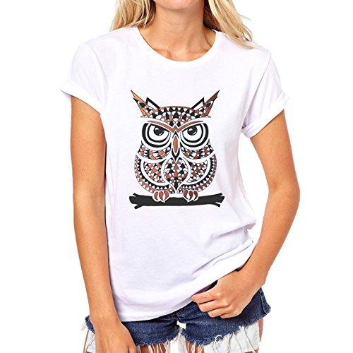 Owl Bird Night Midnighter Fat Cute Cartoon Damen T-Shirt Weiß