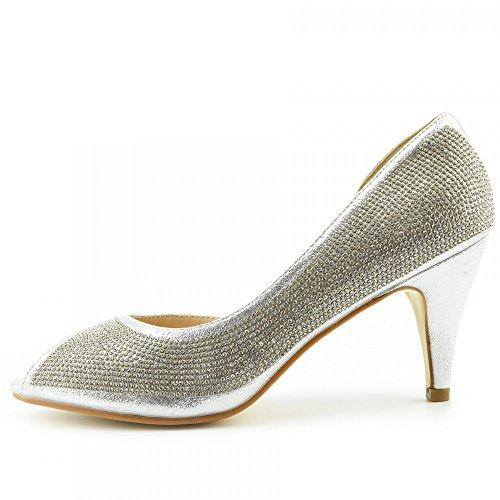 Kick Footwear - Donna Tacchi Classico Partito Sembra Open Toe Scarpe Da Sposa Argento Open Toe