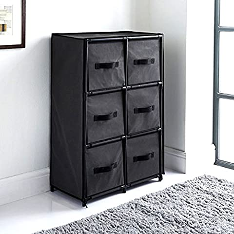 Canvas 6 Chest of Drawer Bedroom Furniture Storage Cabinet Unit Organiser Toys Grey by