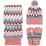LEIU Damen Winter Mütze Handschuhe Schal Set Wolle 3-teiliges Set warme Stricken