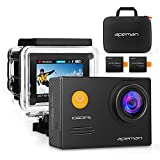 APEMAN WiFi Action Cam Sport con Custodia Impermeabile Full HD 1080P 14MP 170° Grandangolare 2.0 Pollici 2x1050mAh Batterie e Kit Accessori con Pacchetto Portatile (Nero) immagine