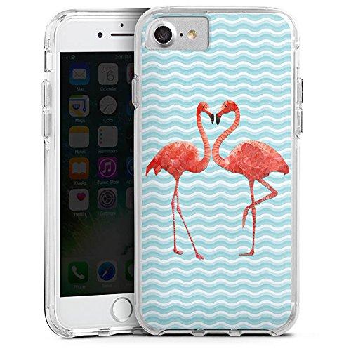 Apple iPhone X Bumper Hülle Bumper Case Glitzer Hülle Flamingo Summer Sommer Bumper Case transparent