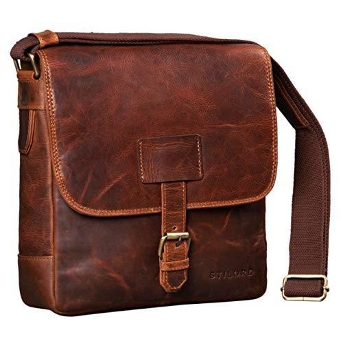 Stilord 'bennet' borsello a tracolla in pelle uomo borsa messenger piccola per tablet 10.1 pollici e a5 cuoio, colore:kara - cognac