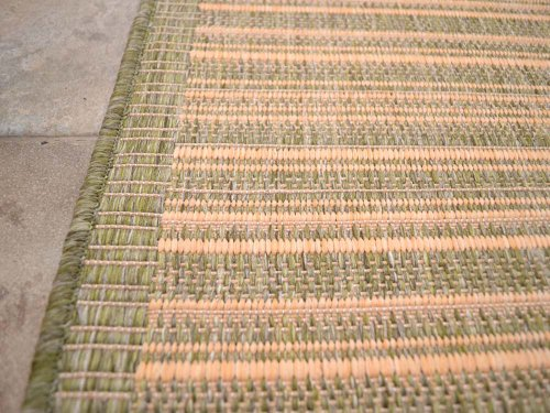 Green Beige Stripe Non-Slip Flatweave Rugs 5 Sizes available (200cm x 290cm)