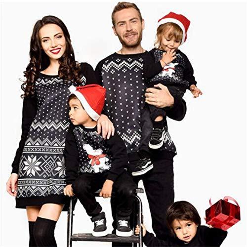 Moonuy Familie Weihnachten Pyjamas Frauen über dem Knie, Minikleid Männer Sweatshirt passende PJs...