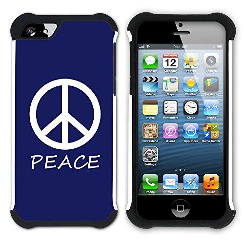 Graphic4You Peace Sign Friedenszeichen Design Hart + Weiche Kratzfeste Hülle Case Schale Tasche Schutzhülle für Apple iPhone SE / 5 / 5S (Aqua Blau) Marineblau