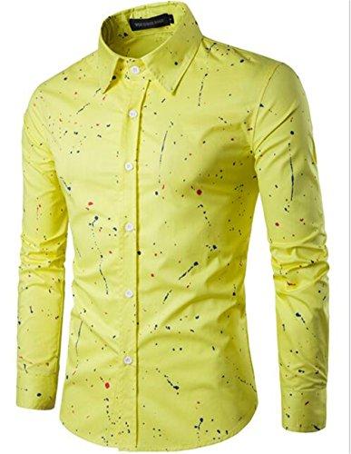 Chemise à manches longues hommes chemise de loisirs dimpression Yellow