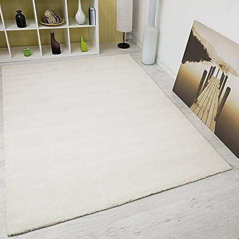 Einfarbiger Teppich Frisee in Beige Elfenbein NEU – VIMODA; Maße: 120x170 cm