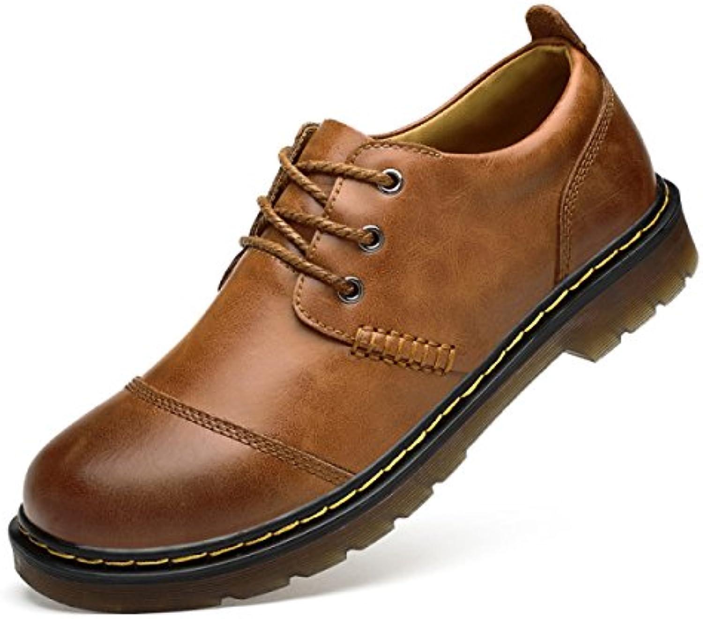 LYZGF Zapatos De Cuero De Encaje Al Aire Libre Para Hombre,LightBrown-43 -