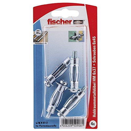 Fischer Hohlraum-Metalldübel HM 6 x 37 SK SB-Karte, 4 x Schraube M 6 x 45, 050908