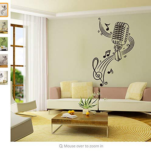 Wiwhy Mural Room Design Mikrofon Music Notes Hair Bar Wandaufkleber Wohnkultur Diy Poster Papier37X57Cm