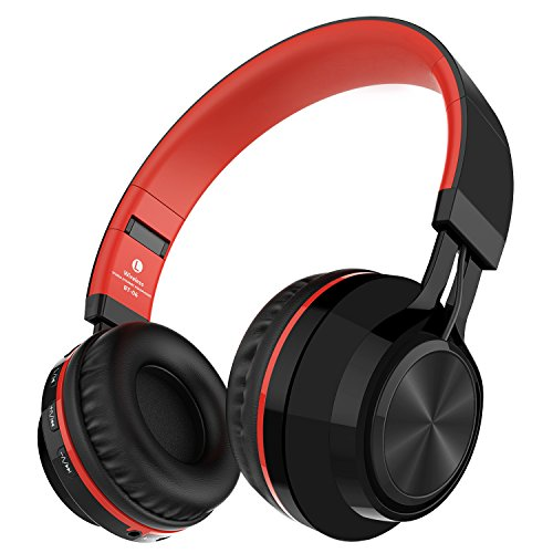 Alihen BT-06 Swift Auriculares Estéreo Inalámbricos con Bluetooth 4.0, Micrófono y Control de Volumen + Cable de Audio. Compatible con la mayoría de Teléfonos / iPhone / Samsung / PC / Tv / Laptop (Rojo)