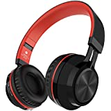 Alihen BT-06 Swift Auriculares Estéreo Inalámbricos con Bluetooth 4.0, Micrófono y Control de Volumen + Cable de Audio. Compatible con la mayoría de Teléfonos / iPhone / Samsung / PC / Tv / Laptop (Rojo)