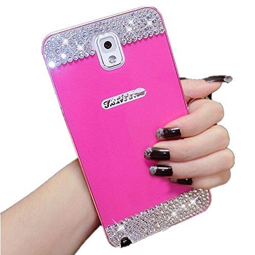 Für Samsung Galaxy Note 3N9000Fällen, gravydeals Luxus Hybrid Bling Diamant Harte PC Back Cover mit Premium Aluminium Metall Frame Licht Composite Fall, Hot Pink (Jeweled Fall 3 Note Für)