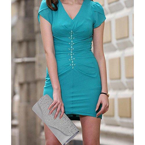 TrendStar Frauen Stilvoll Prom Party Hochzeit Taschen Damen Abend Kupplung Handtasche Satin Silber 2