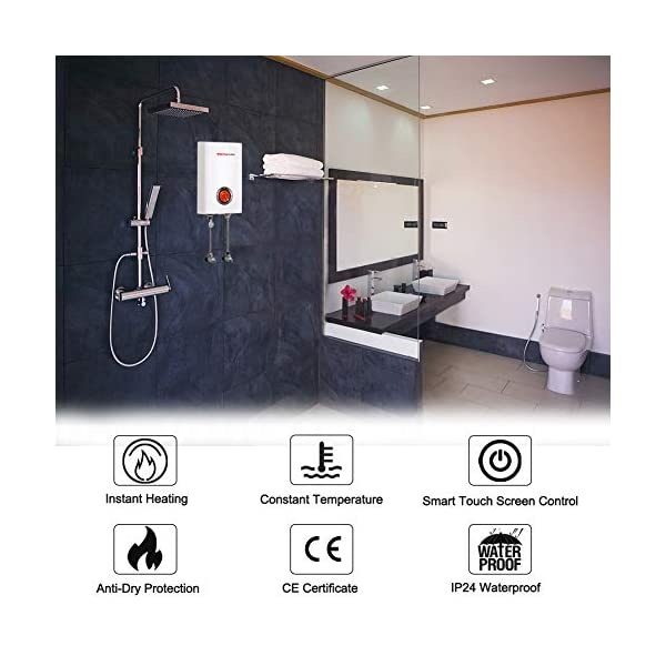 Thermomate ELEX12 12kW Calentador de Agua Instantáneo Eléctrico sin Tanque, con LED Pantalla Digital Blanco y termostato…