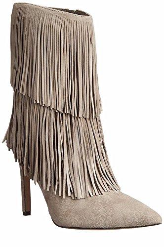 SONGYUNYAN Europa fließt Sukau mit handgefertigten Spitzen Stiletto Mode Damenstiefel Beige