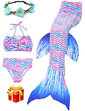 2018 Estate della sirena ultimo Stile ali di nuoto ragazza Coda Costume Da Bagno Di 3 Confortevoli Bikini Materiale...