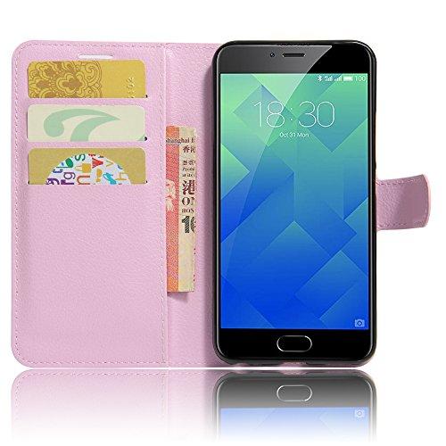 GARITANE Meilan 5/Meizu M5 Hülle Case Brieftasche mit Kartenfächer Handyhülle Schutzhülle Lederhülle Standerfunktion Magnet für Meilan 5/Meizu M5 (Rosa)
